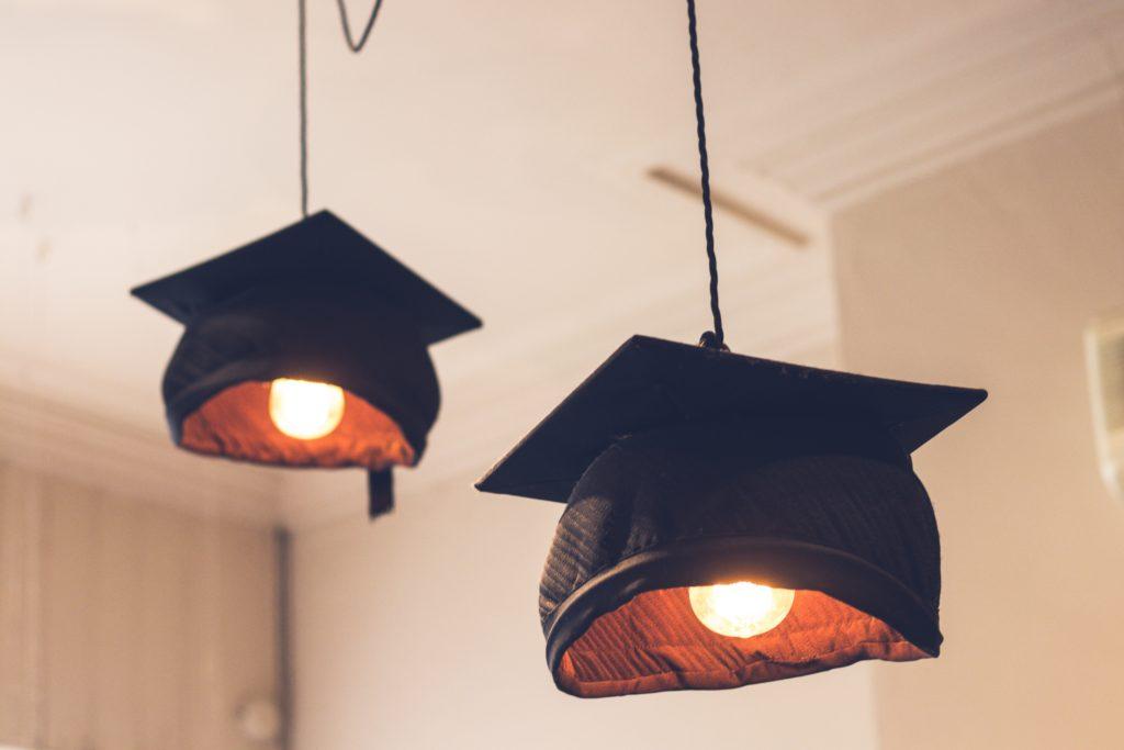Graduation cap hanging lamp shades
